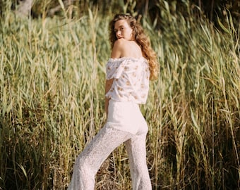 Dream Lace tight Bell Flares Trousers, Bohemian Gypsy festival 70s bell bottoms