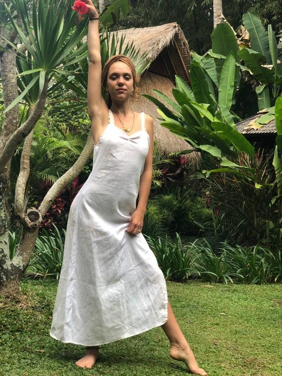 Linen Lover and Lace Slip Maxi dress, side split dress.