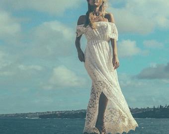 Divine Gypsy Sleeve Lace Bridal dress, Bohemian beach wedding