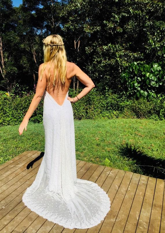 Divine Lace Bohemian wedding halter dress with train, Beach low back Wedding dress