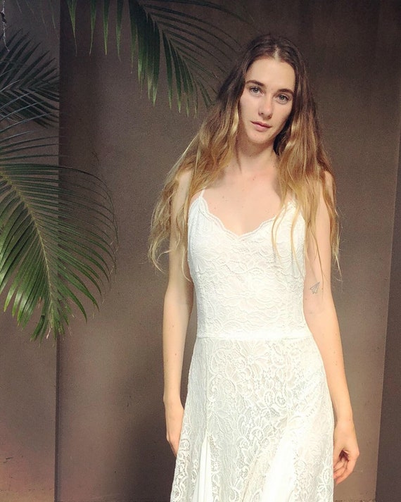 Divine Lily Lace and Chiffon Flared dress with small train, Bohemian wedding dress