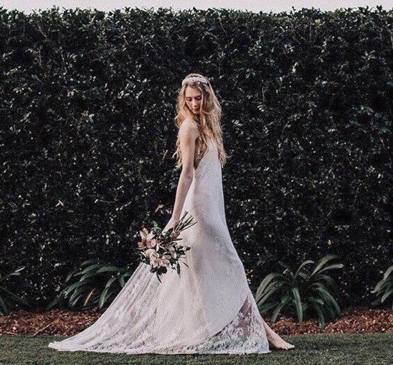 Chantilly Lace low back Boho Wedding gown, Bohemian wedding dress