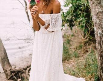 Divine Gypsy Sleeve Bridal dress with train, Bohemian beach wedding dress