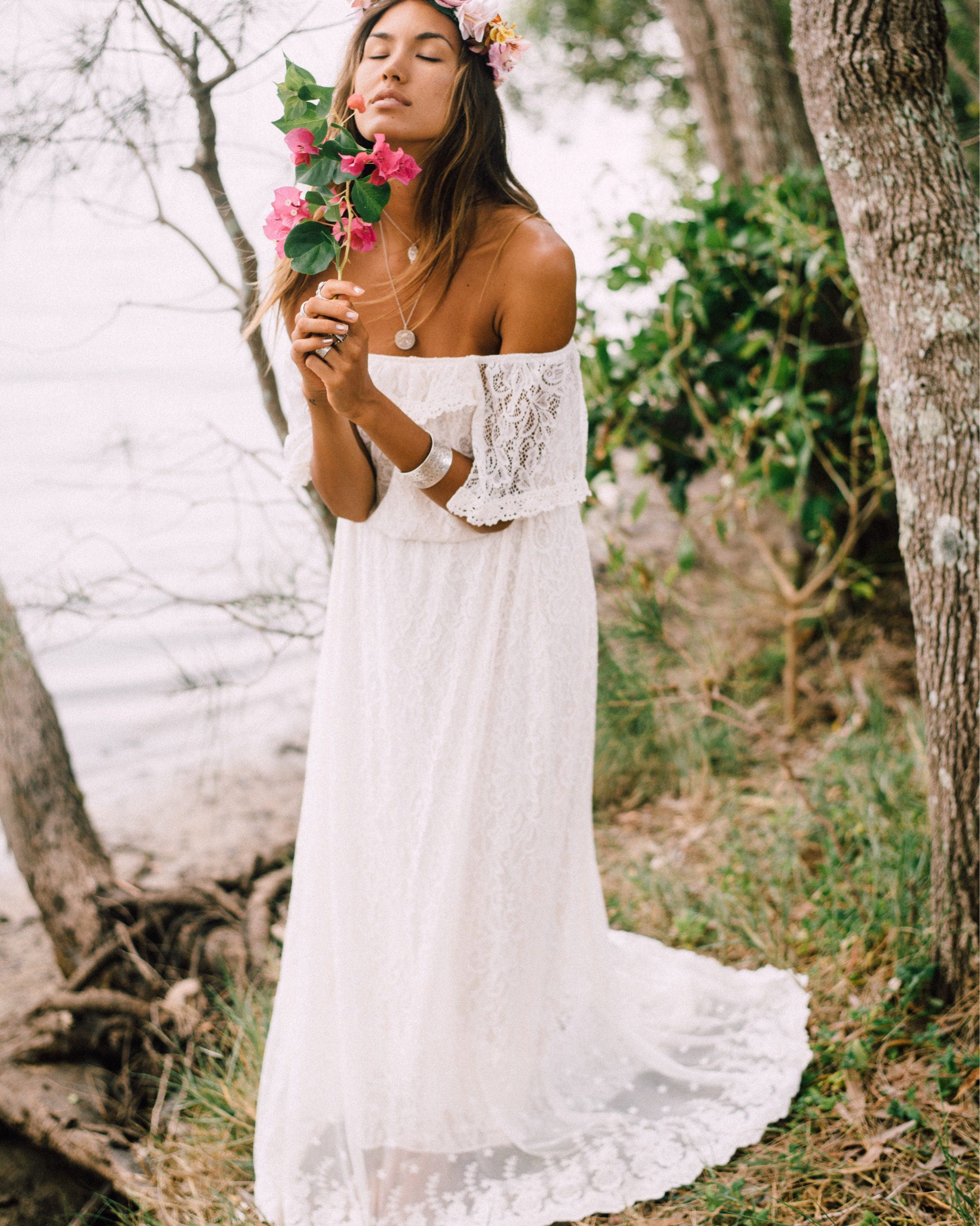 Divine Gypsy Sleeve Bridal Dress With Train, Bohemian