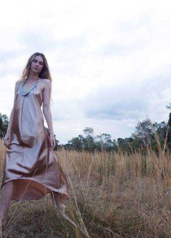 Nude Copper Satin Beaded low back Dress, Bohemian Prom Bridesmaid dress