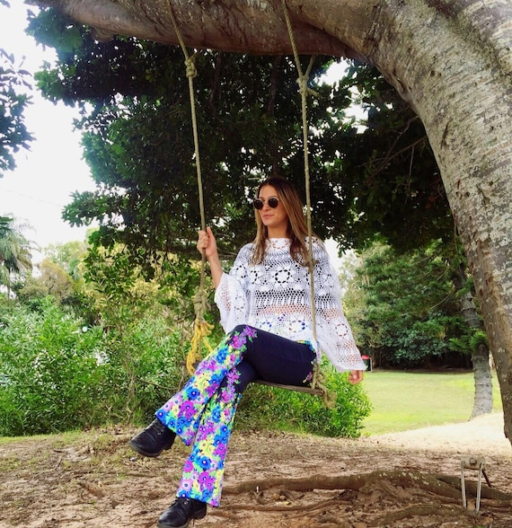 Fairy Garden Floral 70s bell bottoms Flares, Bright floral yoga flares