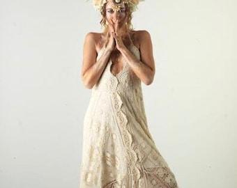 50% Deposit Queenie Cotton Lace Bohemian Bridal Dress, Boho Wedding Dress