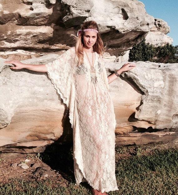Vintage Lace beaded Bridal Kaftan Dress, Gypsy Caftan Boho Wedding Dress