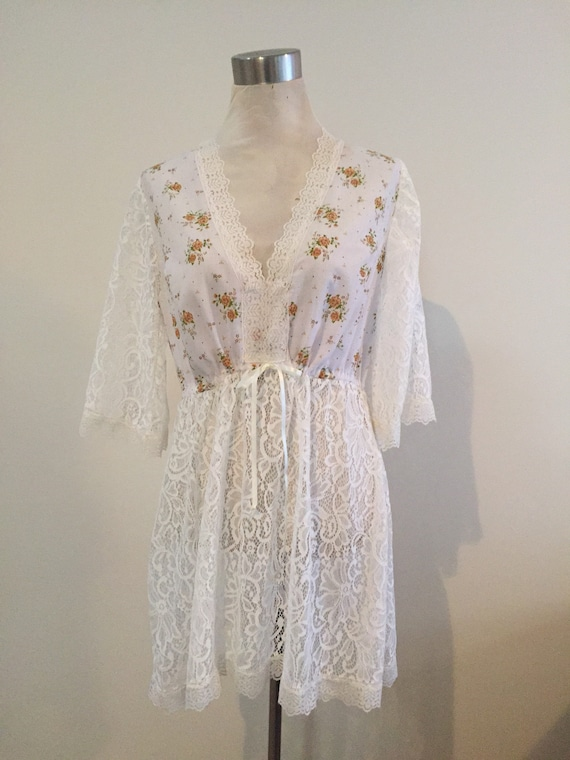 Floral love lace wedding kaftan kimono, Gypsy Beach Jacket