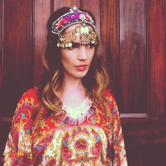 Moroccan Tribe Kaftan beaded fringe scarf top, Paisley