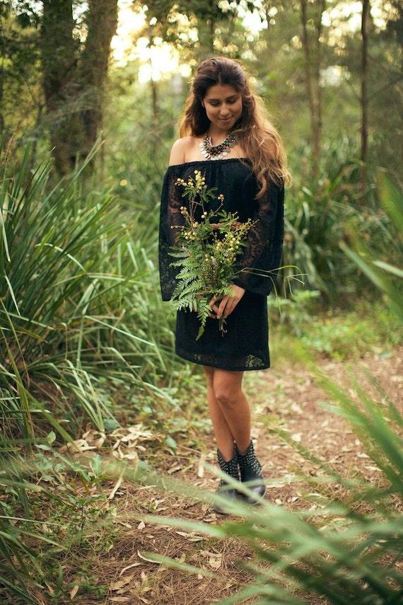 Black Moon Gypsy Bell Sleeve Peasant lace dress, Bohemian dress