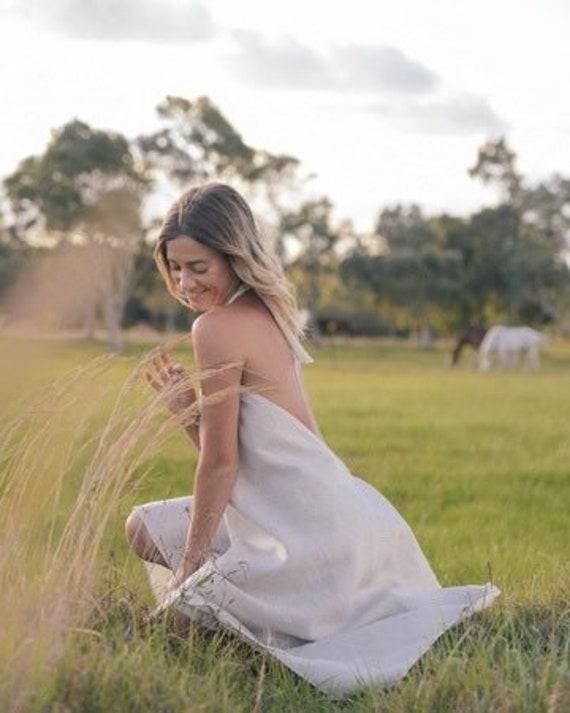 Linen Sundancer low back dress,  Boho Gypsy Dress