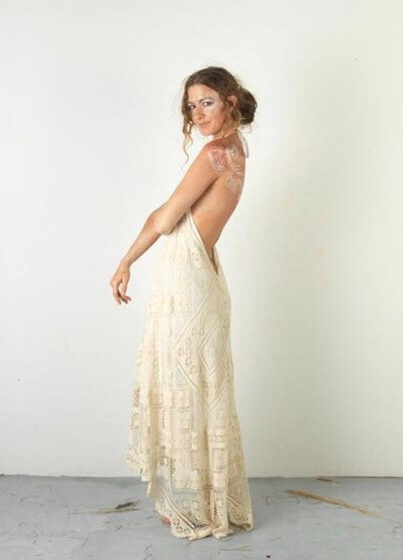Queenie Cotton Lace Bohemian Bridal Dress, Boho Wedding Dress