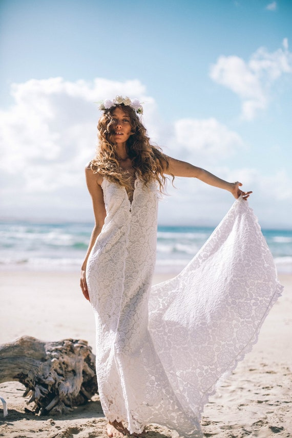 Divine Mermaid Bohemian wedding dress with train, Low back Beach Wedding dress