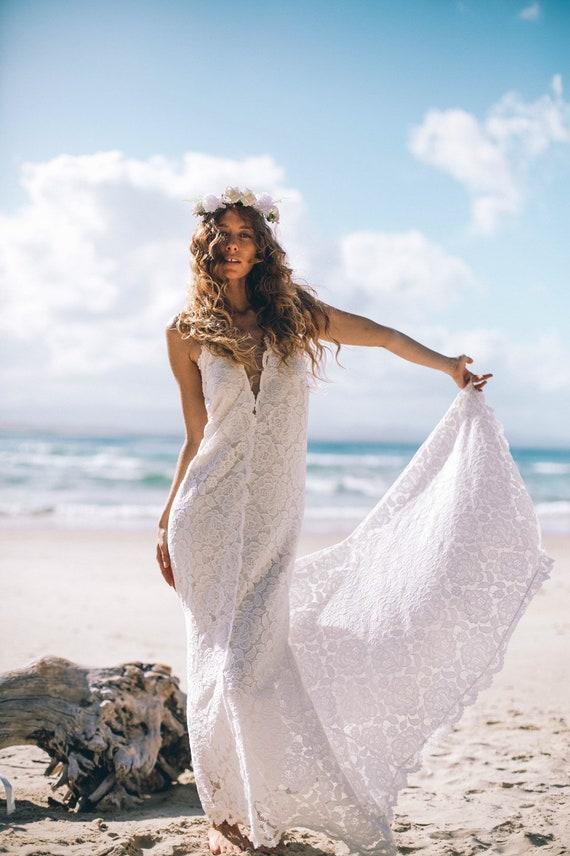 Divine Mermaid Bohemian wedding dress with train, Low back Boho Wedding dress