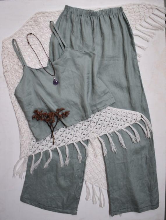 Sage Linen Queen Palazzo Pant set, Eco Linen Jumpsuit