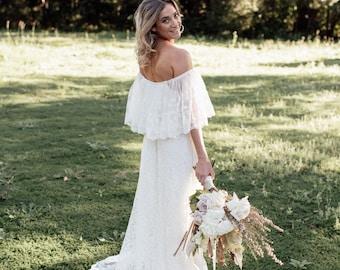 Divine Gypsy Frill Sleeve Bridal dress with train, Bohemian wedding dress
