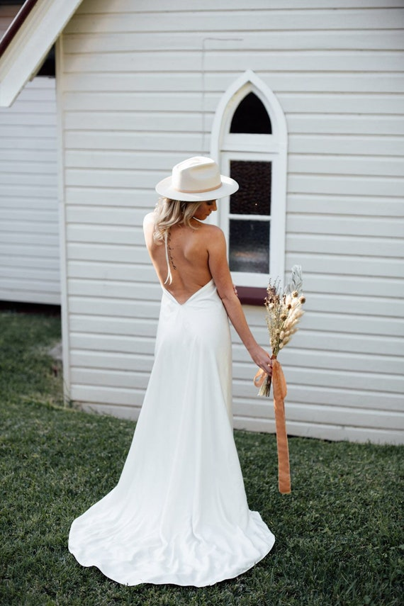 Goddess Eve Bamboo low back halter Wedding dress with train, Bohemian Bamboo Silk wedding dress