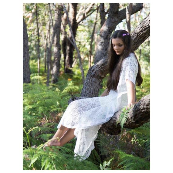Goddess vintage Lace Bridal Kaftan Dress, Indian Gypsy Beach Wedding Dress, boho wedding caftan