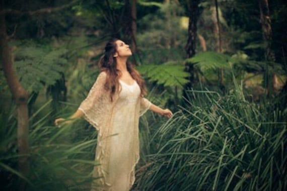Angel Lace Bohemian Beaded Bridal Kaftan Dress with Slip Dress, 50% deposit