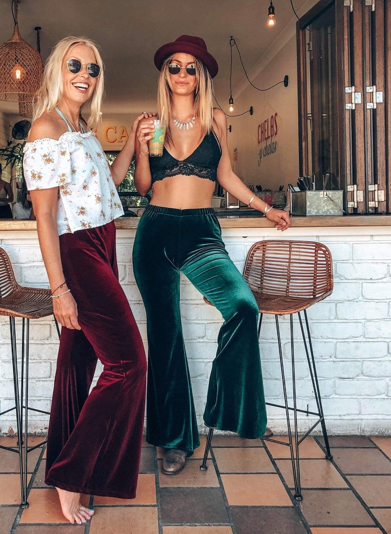 70s Outfits – 70s Style Ideas for Women Retro Velvet 70s bell Flares Stretch Boho Velour Flares bell bottoms $75.47 AT vintagedancer.com