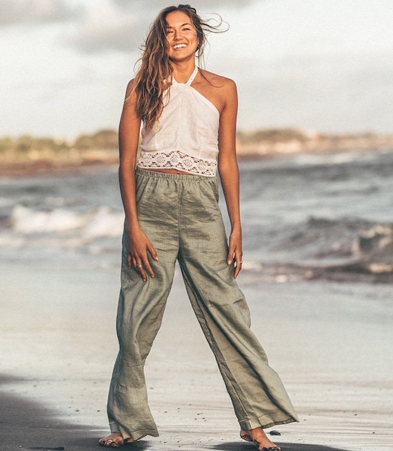 Sage Queen Linen Palazzo Trousers, Eco Linen Pants