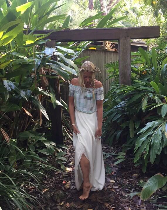 Gypsy Wrap Flare Maxi Skirt, Bohemian Skirt