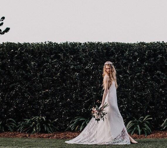 Chantilly Lace low back Wedding dress, Bohemian wedding gown