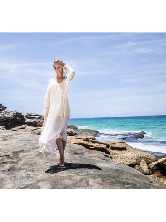 Stardust Silk beaded Kaftan Beach dress, Beach bridesmaid bohemian Wedding dress