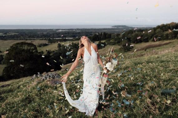 Amelia White Cotton Lace Bohemian Bridal Dress with Train, Boho Wedding Dress