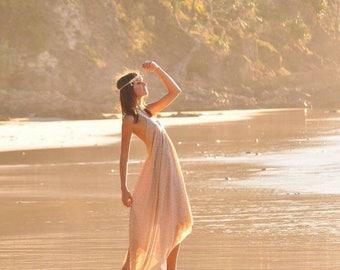 Earth Goddess Halter low back dress, Bohemian Bridesmaid Wedding dress