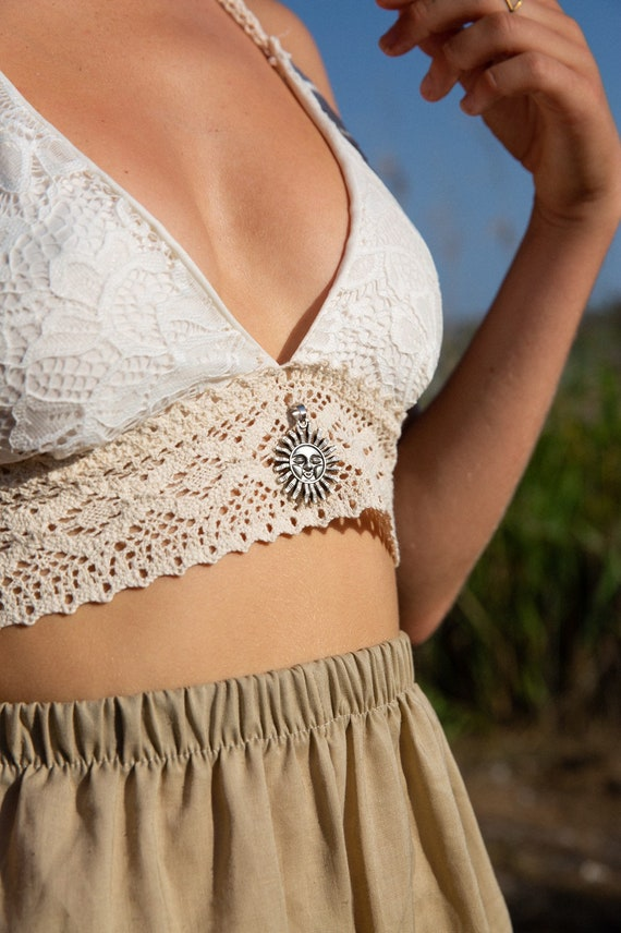 Sunshine Lace Crochet Vintage Bralette bikini top, Gypsy Wedding Lingerie
