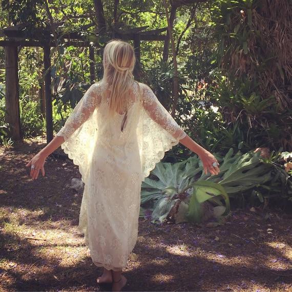 Stardust Metallic Lace beaded Bridal Kaftan Dress, Gypsy Boho Wedding Dress