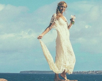 Bohemian Lace Beaded Train Bridal Kaftan, Vintage Beach Boho Wedding Dress