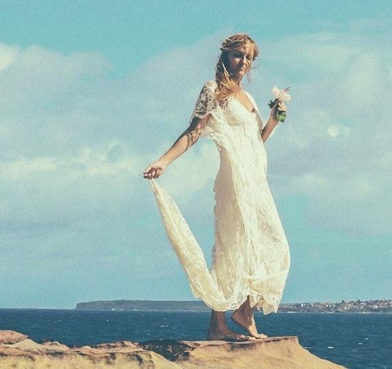 70% Deposit Bohemian Lace Beaded Train Bridal Kaftan, Gypsy Beach Wedding dress