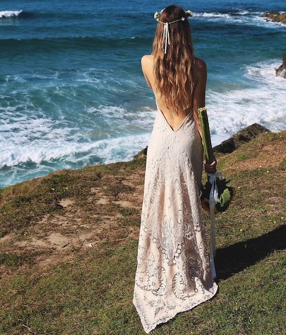 Amelia Cotton Lace Bohemian Wedding Dress with Train