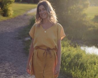 Mustard Linen Tea Shift dress, Tee dress.