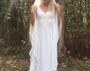 Angel Hood Veil Lace Bohemian Beaded Bridal Kaftan Dress, Gypsy Wedding Dress with Hood veil