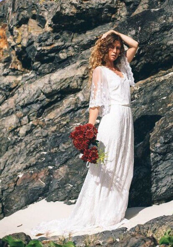 50% Deposit Butterfly Love Bridal dress with small train, Bohemian beach wedding dress