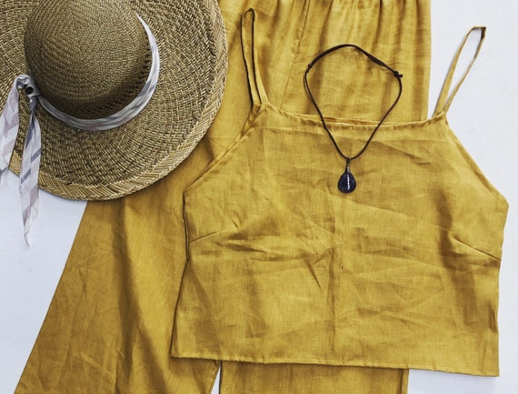 Linen Queen Singlet top, Eco Linen Cami top