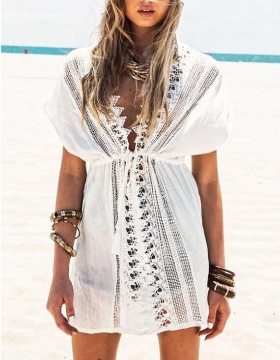 Floral love lace wedding kaftan kimono, Gypsy Beach Jacket