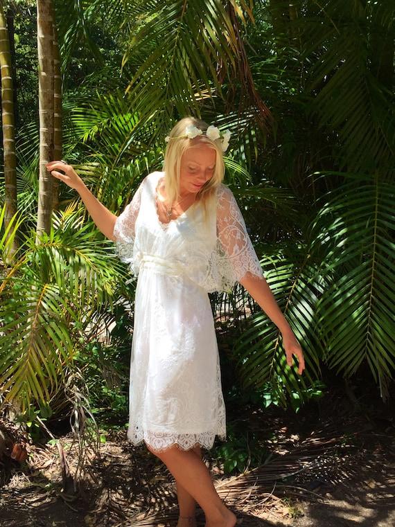 Chantilly Lace Butterfly Sleeve dress, Bohemian beach bridesmaid wedding dress