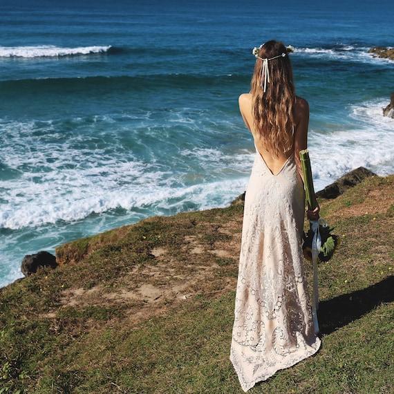 Amelia Cotton Lace Bohemian Bridal Dress with Train, Boho Wedding Dress