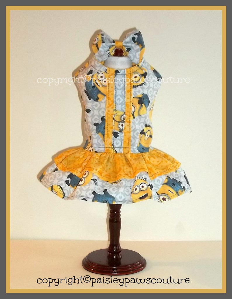 L G.10.5-12 9    XS   Handmade Ready To Ship  The Holiday Dress  Minion Gray and Yellow   Size XSmall  N.6.5-8