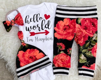 Baby Girl Coming Home Outfit, Newborn Girl Coming Home Outfit, Hello World Personalized Newborn Outfit, Hello World ONESIE®