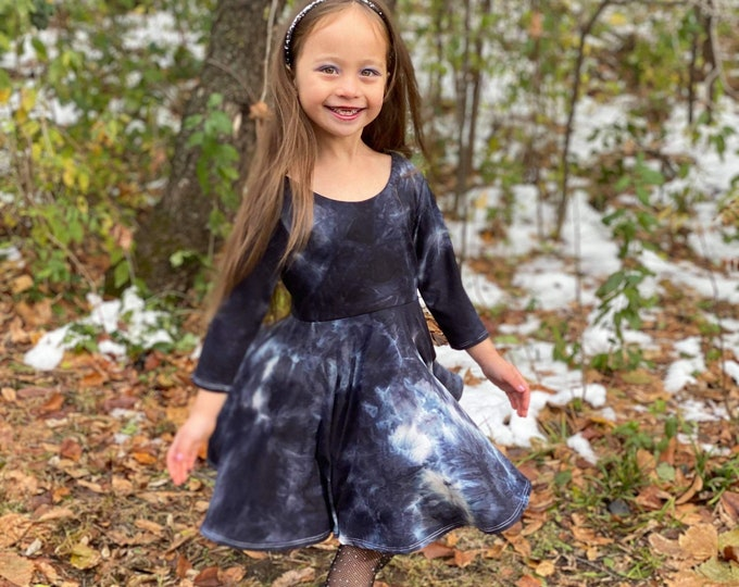 Featured listing image: Girls Twirl Dress, Toddler Twirl Dress, Girls Knit Dress, Toddler Knit Dress, Baby Twirl Dress, Baby Knit Dress, Tie Dye Girl Dress, Tie Dye