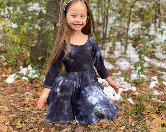 Featured listing image: Girls Twirl Dress, Toddler Twirl Dress, Girls Knit Dress, Toddler Knit Dress, Baby Twirl Dress, Baby Knit Dress, Tie Dye Girl Dress, Tie Dye