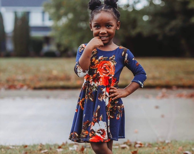 Featured listing image: Girls Twirl Dress, Toddler Twirl Dress, Girls Knit Dress, Toddler Knit Dress, Baby Twirl Dress, Baby Knit Dress, Fall Girl Dress, Floral