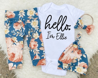 Newborn Girl Coming Home Outfit, Newborn Baby Girl Outfit, Hello Im New Here, Name Announcement Outfit, Hello World ONESIE® Girl,