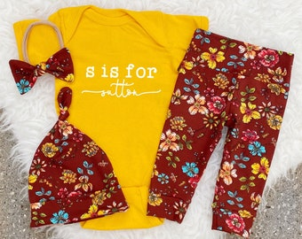 Newborn Girl Coming Home Outfit, Newborn Baby Girl Outfit, Alphabet Bodysuit, N is for Name, Name Announcement Outfit, Fall Baby